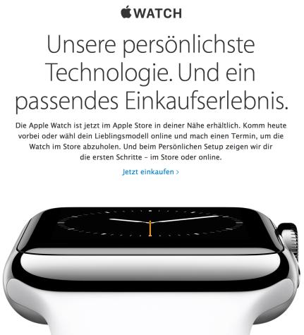 Apple Watch im Apple Store erhältlich